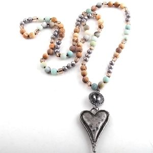 Amber Turquoise Bead Metal Heart Pendant Necklace